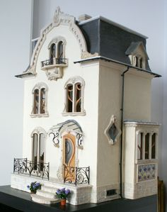 Art Nouveau dollhouse made from a Willowcrest kit