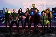 Fan design for a Young Avengers Netflix series: Noh-Varr (formerly Marvel Boy), Speed (Tommy Shepherd), Hawkeye (Kate Bishop), Miss America (America Chavez), Hulkling (Teddy Altman), Wiccan (Billy Kaplan), Kid Loki, and Prodigy (David Alleyne). Nice.