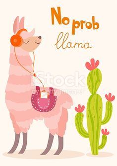 Stylish cartoon lama with cactus. - You are in the right place about cactus aquarelle Here we offer you the most beautiful pictures ab - Alpacas, Girly Wallpaper, Wallpaper Iphone Cute, Wallpapers Tumblr, Cute Wallpapers, Alpaca Illustration, No Drama Lama, Alpaca Drawing, Cute Llama