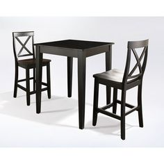 Three Piece Pub Dining Set With Tapered Leg And X Back Stools In Black Finish Counter Hei