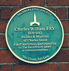 Bluer plaque commemorating Charles Willianm Fry, first National Bandmaster of Salvation Army