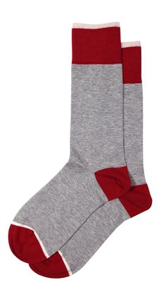 Heathered grey with deep red accents, these Peruvian Pima cotton socks look great dressed up or down. Coming this fall to Soxfords.com! Available in men's and women's sizes. #Soxfords #Socks #Style