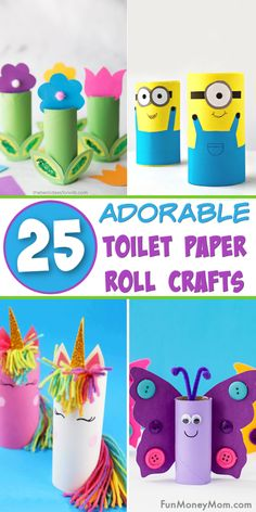Your kids are going to love making these cute toilet paper roll crafts! It's a great way to keep the kids entertained when there's no school or you need rainy day activities! You can't go wrong with these easy crafts for kids! Easy Crafts For Kids, Toddler Crafts, Fun Crafts, Children Crafts, Creative Ideas For Kids, Paper Crafts Kids, 5 Year Old Crafts, Summer Crafts, Easter Crafts