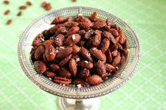 Almonds tossed in a mix of spices and maple syrup before roasting are a great way to kick off any holiday party.  Sweet with a tiny bit of heat make this crunchy snack incredibly addictive.   Almon...