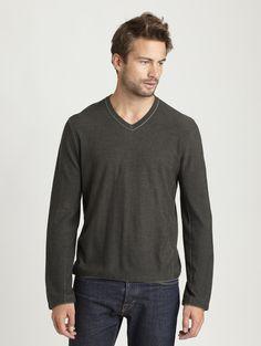 - INHABIT - Plaited Cotton Wool V-Neck