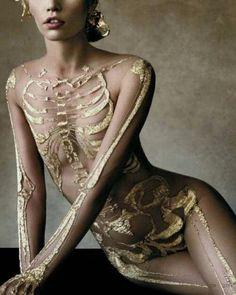 gold skeleton bodysuit