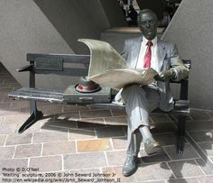2006 Photo © D.O'Neil. 'Waiting' sculpture © John Seward Johnson Jr (Sculptor, USA) via wiki.  Artist site: http://www.sewardjohnson.com       Sculpture location: Australia Square, central Sydney, Australia. Businessman reading newspaper.  [Do not remove caption. International copyright law requires you to credit the artist. Link directly to the artist's website.]   PINTEREST on COPYRIGHT:  http://pinterest.com/pin/86975836526856889/