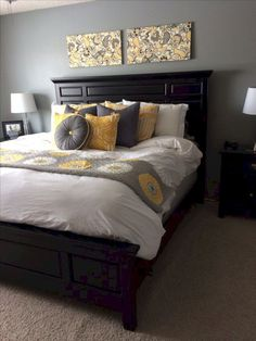 Grey and Black Bedroom. Grey and Black Bedroom. 36 Black & White Bedrooms S and Ideas for Bedrooms Yellow Gray Bedroom, Grey Bedroom Design, Grey Yellow, Bedroom Black, Yellow Bedrooms, Bedroom Designs, Bed Design, Burgundy Bedroom, Bedroom Brown