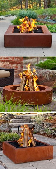 Heavy Duty Cor-Ten Steel Fire Pits – could be made from old joists/metal beams - Garden