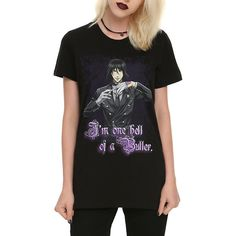 Black Butler Hell Of A Butler Girls T-Shirt Hot Topic ($23) ❤ liked on Polyvore featuring shirts