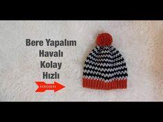 Havalı, Kolay ve Hızlı Bere Yapımı Crochet Hat Tutorial, Easy Crochet Hat, Crochet Coat, Crochet Gifts, Crochet Beanie, Crochet Baby, Crocheted Hats, Baby Knitting Patterns, Crochet Patterns