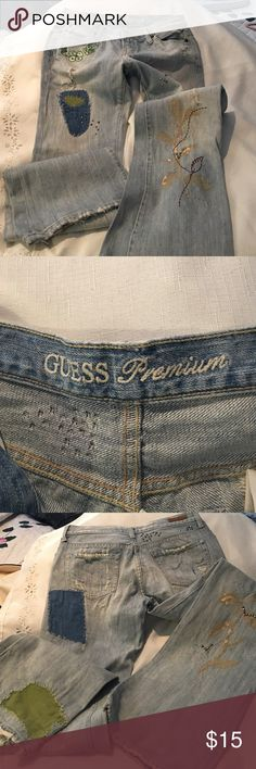 "Guess Premium light blue jeans in patchwork Guess Premium jeans. Light blue washed. Patchwork design on front and back  vintage look. Slight flare   Size 28  inseam 31"".  Nice for Springtime wear  very cool embellishments Guess Premium Jeans Flare & Wide Leg"