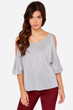 LULUS Exclusive Love Shy Heather Grey Top at LuLus.com!