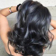 hair highlights black photo of dark silver hair color photo of dark silver hair color Dark Silver Hair, Blue Grey Hair, Dark Grey Hair Charcoal, Beige Hair, Silver Blonde, Black Hair, New Hair Colors, Cool Hair Color, Silver Hair Colors