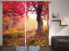 Ambesonne Farm House Decor Collection Majestic Landscape with Colorful Autumn Trees Foggy Forest in Ukraine Photography Living Room Bedroom Curtain 2 Panels Set 108 X 84 Inches Coral Pink Green >>> To view further for this item, visit the image link.