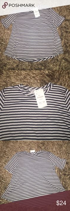 Zara shirt!!  NWT navy and white striped Zara shirt!! Lightweight & part of the Trafaluc collection! Fits beautifully on! Size Small!!  Zara Tops Tees - Short Sleeve