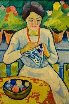 August Mackeアウグスト・マッケ(1887ー1914)「Mujer bordando en un balcón」