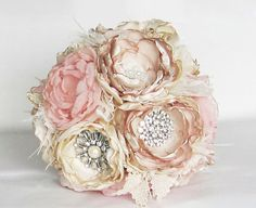 Fabric flower brooch bouquet . Vintage Wedding . Ostrich feather trim . Pink ivory champagne peony roses in ANY COLOR on Etsy, $210.00