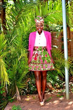 Pink and green print skirt and headwrap