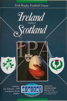 Irish Rugby Football Union, Ireland v Scotland, Five Nations, Landsdowne Road, Dublin, Ireland, Saturday 3rd February, 1990. See more photos like this at www.irishphotoarchive.ie #vintage #oldphotos #blackandwhite #film #artistic #finearts #ireland #irishhistory #historyphoto #history Scottish Rugby, Irish Rugby, Munster Rugby, Rugby Poster, History Photos, Dublin Ireland, Photo Archive, Northern Ireland, Scotland