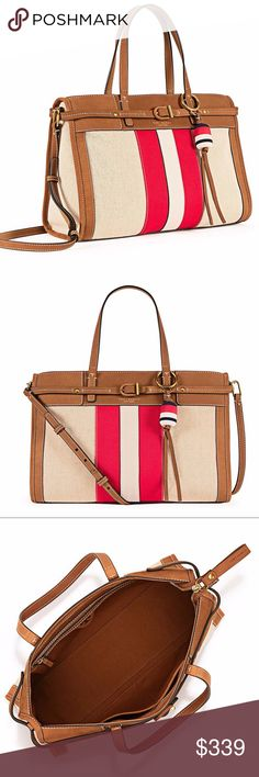 """tory burch CANVAS & SUEDE SATCHEL captures the season's prep-chic vibe with its fresh palette and maritime detailing. Featuring a mix of materials and a playful buoy key fob, the design can be worn hands-free when you attach the adjustable cross-body strap. It's a classic style for every day. Holds a 7"""" tablet, a continental wallet, a small makeup bag and an iPhone 6 Plus Zipper closure Handle with 6.37"""" drop Adjustable, removable cross-body strap with 23.31"""" drop 1 interior zipper pocket, 1…"""