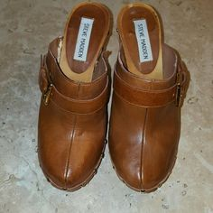 Leather gold studded Clogs / Mules Leather Studded Clogs with side gold buckle. .. few Nicks but still in great shape Steve Madden Shoes Mules & Clogs
