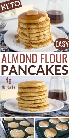 Enjoy these fluffy and delicious keto almond flour pancakes with your favorite toppings. These easy low carb pancakes are perfect for a relaxing breakfast. Low Calorie Pancakes, Almond Meal Pancakes, Pancake Calories, No Flour Pancakes, No Sugar Pancakes Recipe, Healthy Low Carb Recipes, Keto Recipes, Dinner Recipes, Healthy Tips