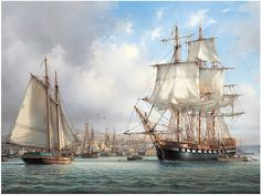 Morning Departure (There was no attribution, but this looks like the work of John Stobart.)