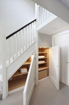 Door Under Stairs, Under Stairs Cupboard, House Stairs, Bathroom Under Stairs, Under Stairs Storage Solutions, Storage Under Stairs, Home Room Design, House Design, Stairway Storage