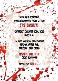 Dexter Inspired Blood Splatter Halloween Party Invitation by PaperworkEnvy, $35.00  Set of 20 Invites & Envelopes