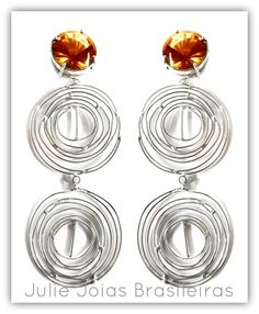 Brincos longos em prata 950 e citrino (950 long earrings with citrine)