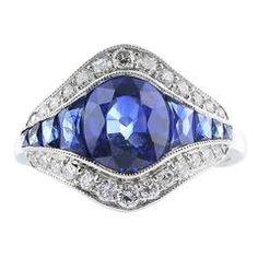 2.15 Carat Sapphire Diamond Platinum Ring