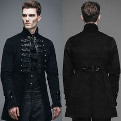 Men Black Double Breasted Victorian Gothic Dress Trench Coat SKU-11401532