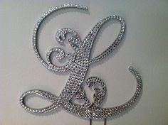 6Crystal  Monogram Cake  Topper  Letter L by BarbieHillDesigns, $110.00