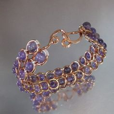Copper Infinity Wire Looped Amethyst Gemstone Heart Closure Bangle LBD1031