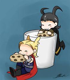 Mini Thor and Loki - Milk And Cookies by caycowa.deviantart.com on @deviantART