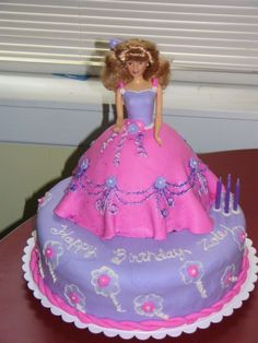 "Barbie Cake - Customer ordered this for her four year old.  MMF used with buttercream design work and cake sparkles to give the skirt a ""shimmery"" effect.  This was my first doll cake."