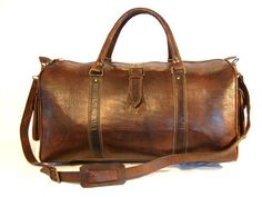 Leather Duffle Bag Travel Bag - Handmade Zip End Pockets