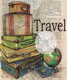 Print: travel mixed media drawing on antique dictionary page shoe art, mixed media art Watercolor Flower, Book Page Art, Vintage Suitcases, Dictionary Art, Illustration, Shoe Art, Altered Books, Medium Art, Mixed Media Art