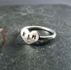 Personalized Sterling Silver Heart Ring with Initials EtsyXo, Sweetheart Ring, Heart Ring. $27.00, via Etsy.