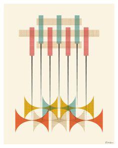 Mid Century Modern Pattern Print by Modern South Studio