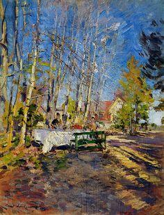 Konstantin Korovin (Russian Impressionist, 1861-1939) Paris in winter Paris by night on Rue Lepic in Montmartre ...
