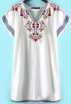 White V Neck Short Sleeve Embroidered Dress - abaday.com