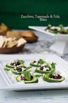 zucchini, tapenade and feta cheese bites  ~m
