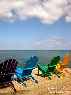Roatan Island Crayola Adirondacks (credit ⚓ René Marie Photography) ⚓ Beach Cottage Life ⚓ http://www.etsy.com/shop/ReneMariePhotography⚓