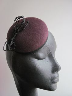 Womens Plum Mini Pillbox Cocktail Hat with Black Barbed Wire