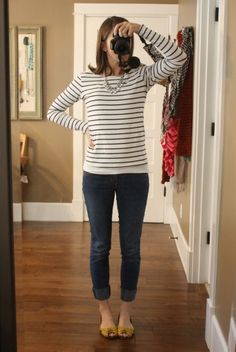 striped shirt with jeans and bright colored shoes - classic