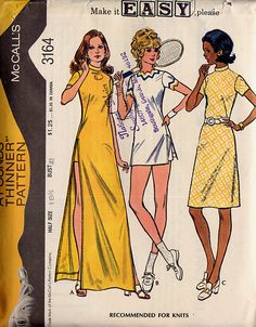1972 Sewing Pattern McCall's 3164 Misses half size dress and shorts size 14.5 bust 37