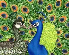 Peacock Love 8x10 archival watecolor print by TracyLizotteStudios, $20.00