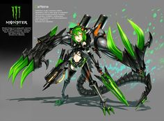 guns monsters futuristic quotes mecha weapons short hair green hair gia artist anime orange eyes anime girls swords_www.wall321.com_93.jpg (600×443)